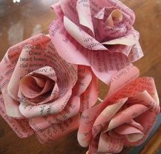 Paper Roses made from the pages of romance novels.