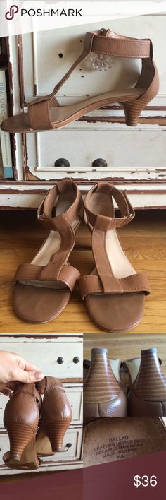 Nine West tan leather heeled sandals Add these well made mini heels to your closet. Nine West tan leather T ankle strapped heels. Minor wear on sole but great condition on outside of sandals. Lmk any questions. 2 for 15% off. Nine West Shoes Heels