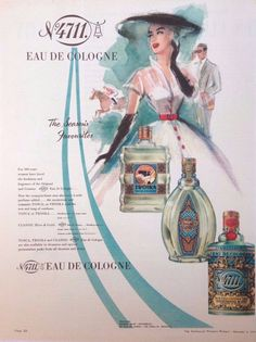 4711 COLOGNE AD RETRO PERFUME BOTTLE 1953 original vintage AUSTRALIAN advert