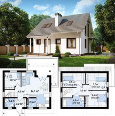 Modern European Style Architecture Design House Plan SH 136 XXL - Dream Home Ideas by ScanHaus Marlow - Arquitecture Contemporary Style House Plans and Interi Simple House Plans, Dream House Plans, House Floor Plans, Casa Loft, Compact House, Model House Plan, House Blueprints, Dream House Exterior, Sims House