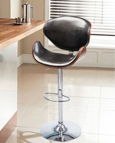 Life Carver Height Adjustable Bentwood Leather Padded Bar stool Chair Black & Walnut Chrome Swivel Stool Restaurant Kitchen Breakfast Stool: Amazon.co.uk: Kitchen & Home