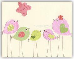 Nursery Bird Decor  Baby Girl Tweet Bird Art Decor by DesignByMaya
