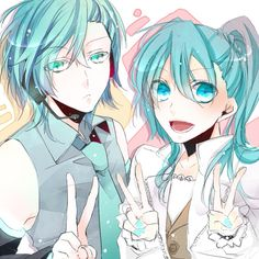 Uta no ⭐︎ Prince-sama♪ & Vocaloid crossover - Ai Mikaze & Miku Hatsune - they switched clothes (^_^)☆