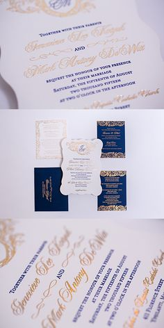 Designed for a U of M Michigan wedding, these navy and gold invitations were designed with a vintage baroque swirl. All of the printing was in foil and letterpress. The vintage wedding invitation was then die cut into this beautiful shape. Click to see all of the details or pin for later!