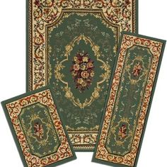 3 Piece Collection Area Rugs, Rose Garden ● Set Includes: 5 x 7 ft Rug, 22 x 59 inch Runner, and 22 x 31 inch Mat ● Egyptian-made ● 100% Heavy Duty, Solution Dyed, Soft Polyolefin Yarn ● 8mm Soft Pile Height (0.33 inch thick) ● Anti-Static and Easy to Maintain ● Resistant to Stains, Fading, Soil and Bacteria ● Sets are reverse rolled with matching 6 x 8 inch color label