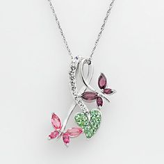 Artistique Sterling Silver Crystal Heart and Butterfly Pendant - Made with Swarovski Elements