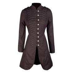 A fully lined fitted cotton coat. The brocade detailing along with the intricate detailing on the buttons make this jacket unique and will make the perfect addition to any steampunk outfit 30c Machine Wash Cold, Wash Separately, Do Not Bleach, Cool Iron