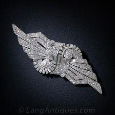 Art Deco Platinum Diamond Clips/Brooch http://www.langantiques.com/products/item/90-1-4605