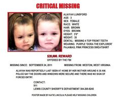Help Missing Children this poor baby is soo sad and scared plzzzz help find her ALL I ask is remeber her face and keep an eye out for her and all missing children