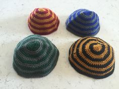 Just for Harry Potter fans - Crocheted Kippot in all Hogwarts House Colors- Made…
