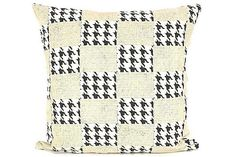 Black White and Cream Houndstooth print Throw Pillow Cover
