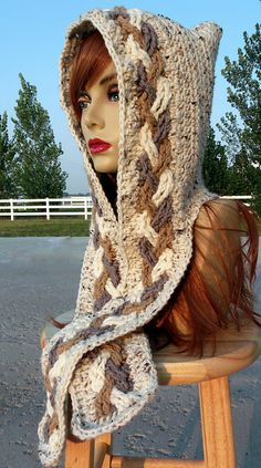 $4.50~Ravelry: Tri-color Cable Braid Scoodie Pattern pattern by Shana Galbraith