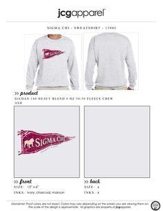 JCG Apparel : Custom Printed Apparel : Sigma Chi Sweatshirt #sigmachi #machi #sx #sweatshirt #pennant #bulldog #vintage #retro #greek
