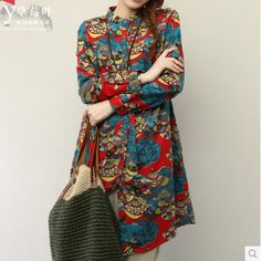 Winter Dress Hot sell 2014 new plus size long sleeve casual dress Flowers printed cotton dress women