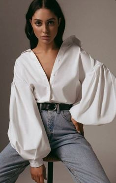 Women White Casual Puff Sleeve Button Up Shirt - S Model Poses Photography, Woman Portrait Photography, Photography Studios, Photography Lightbox, Landscape Photography, Modelling Photography, Photography Shop, Photography Institute, Modeling Photography