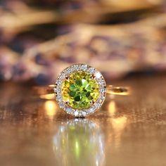 Natural Gemstone Peridot Engagement Ring in 14k Rose Gold Halo Diamond Ring 7x7mm Green Peridot Ring (Bridal Wedding Ring Set Available)