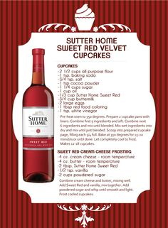 Sutter Home Sweet Red Velvet Cupcakes! Visit our blog for the recipe.