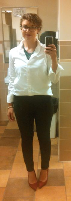 9/25/14--White button up shirt, black skinny slacks, maroon pointed toe suede heels, silver watch, infinity bracelet, monogrammed silver bracelet, green and blue collar necklace.