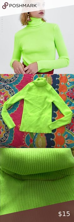 Zara Neon Turtleneck size S NWT Good condition Light makeup transfer on the neck from trying the shirt on Size S Zara Tops