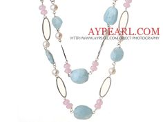 Beautiful Long Style Natural Irregular Aquamarine and White Pearl Pink Crystal Necklace