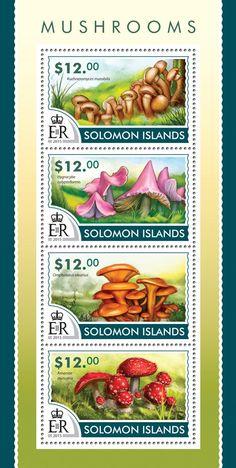 Post stamp Solomon Islands SLM 15205 aMushrooms (Kuehneromyces mutabilis, Hygrocybe calyptriformis, Omphalotus olearius, Amanita muscaria)