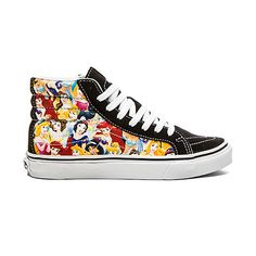 Vans Sk8 Hi Slim Disney Sneaker Shoes ($70) ❤ liked on Polyvore featuring shoes, sneakers, canvas shoes, canvas lace up shoes, vans footwear, laced shoes y lacing sneakers