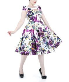 Another great find on #zulily! White & Purple Floral Cutout Dress - Women & Plus by HEARTS & ROSES LONDON #zulilyfinds
