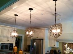 Kitchen Lights Remodeling Beautiful Orb Chandelier For Home Lighting Ideas: 3 Pieces Orb Chandelier For Kitchen Lighting Ideas Kitchen Lighting Design, Farmhouse Kitchen Lighting, Kitchen Lighting Fixtures, Kitchen Pendant Lighting, Kitchen Pendants, Pendant Lights, Country Kitchen, Pendant Lamp, Farmhouse Decor