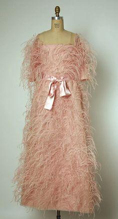 Evening dress (front view)   Cristóbal Balenciaga (Spanish, 1895-1972)   France, Fall/Winter 1965-1966   Materials: silk, feathers   The Metropolitan Museum of Art, New York