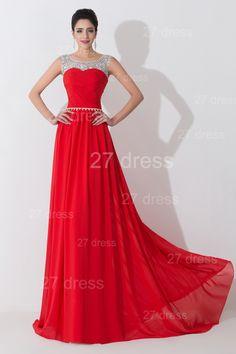 Modern Red Illusion Chiffon Evening Dress Crystals Sweep Train - Products - 27DRESS.COM