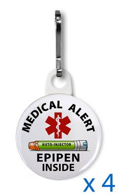 This is a fantastic idea and I should probably invest in it. (EpiPen Inside Medical Warning Zipper Pull Charm by MedicalAlert, $8.00)