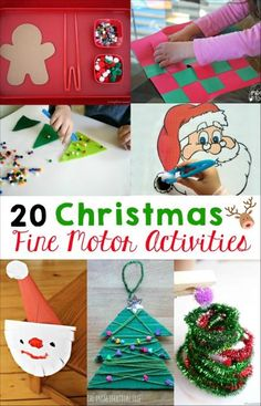 These 20 Christmas fine motor skills activities are perfect for preschoolers and kindergarten students! Play and strengthen skills at the same time! by annmarie Fine Motor Activities For Kids, Motor Skills Activities, Christmas Activities For Kids, Christmas Themes, Kids Christmas, Christmas Paper, Outdoor Christmas, Christmas Ornaments, Theme Noel