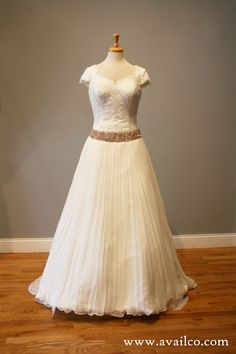 Jacqui's Gorgeous Vintage Look Short Sleeve Wedding Dress with Lace and Rose Gold Beadwork - Avail & Company, LLC Modest sleeve wedding dress with sleeves and beautiful vintage style, perfect for a winter wedding with the flowy fairy tale style look.