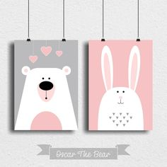 "Set of 2 posters ""Bear and Bunny"" Perfect decoration for children's room and nursery! Simple Canvas Paintings, Easy Canvas Art, Small Canvas Art, Mini Canvas Art, Diy Canvas, Baby Painting, Painting For Kids, Art For Kids, Baby Prints"