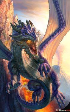 Illustrative fantasy artwork done for Games Lab Services Pty Ltd for their mobile game app Final War 5 Dragons Final War 5 Dragons Purple Dragon Magical Creatures, Fantasy Creatures, Dragon Medieval, Cool Dragons, Dragon Artwork, Dragon Pictures, World Of Fantasy, Fantasy Monster, Mythological Creatures