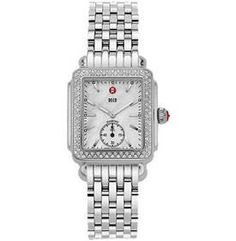 Deco 16 Diamond Stainless Bracelet Inspired by the geometric shapes of Art Deco architecture, the Deco timepiece embodies clean, sophisticated style. Sparkling diamonds surround the mother of pearl dial. Chronograph movement and the signature Michele crown accent this stunning timepiece.