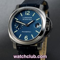 Panerai Luminor Marina 40mm - Box & Papers REF: PAM 00119 | Year Aug 2005 - 40mm Panerai's never last long in our window...This PAM 119 features a matt steel case with polish finish bezel and sports the sought after dark blue luminous dial. Powered by Panerai's chronometer rated automatic movement (cal.OP III) and water resistant to 300m. Fitted to a brand new navy blue alligator Panerai strap and secured with a steel deployant clasp - for sale at Watch Club, 28 Old Bond Street, Mayfair…