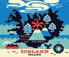 Illustrierte Karte von Island von TracyWalkerInk auf Etsy