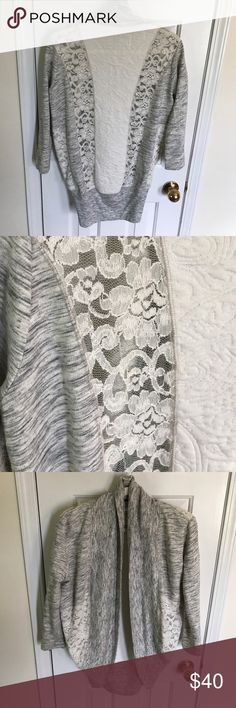 Anthropologie Saturday Sunday lace detail shrug XS Amazing Anthropologie sweatshirt cardigan/shrug. Lace and patterned details. Perfect for throwing over a dress, lounging in the weekend! Preowned. Size XS Anthropologie Sweaters Cardigans