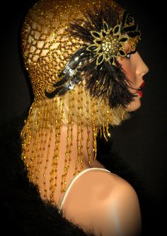 GOLDEN SHIMMY SOIREE- Art Deco 20s Gatsby Headpiece, Juliet Gold Beaded Flapper Cap, Gold & Black Sequin Beaded Appliques, Black Feathers by AllThatJazzDesign on Etsy https://www.etsy.com/listing/216925296/golden-shimmy-soiree-art-deco-20s-gatsby
