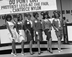"New York World's Fair, 1964 Who's the fair-est of them all? A bevy of beauties try to get a leg up on each other as they compete for the coveted title of ""Prettiest Legs at the Fair"" in 1964."