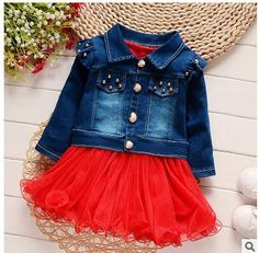 2017 Spring Summer New Korean Girls Long-sleeved Dresses Fashion Denim Dot Kids Clothing Hot Sale Apparel Princess yarn dress #Affiliate