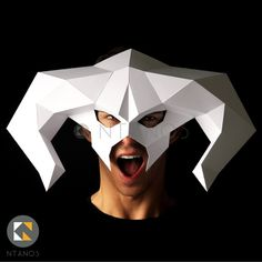 BALROG Mask - Make this mask of demon Balrog from card, using this PDF mask template Maske Halloween, Halloween Masks, Black And White Printer, Balrog, Last Minute Costumes, Mask Template, Paper Mask, 3d Paper Crafts, Cool Masks