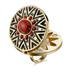 House of Harlow 1960 Tribal Ring with Coral Cabochon ❤ liked on Polyvore