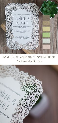 delicate laser cut elegant wedding invitations with different colors