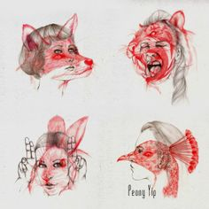 """Artsy Fartsy Friday: """"Peony Yip, a Hong Kong based artist, does amazing illustrations in which she morphs humans and animals together. The animal illustrations are overlaid on female faces with matching expressions. In these examples, she aims to explore the relationship between humans, animals, and nature. The fine textures of the pencil strokes adds dimension into each piece."""""""