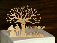 Rustic Wedding Cake Topper  - cake toppers - wedding decorations - cake decor - custom personalized wedding cake topper - tree ol life mr and mrs cake topper
