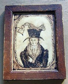 Early watercolor Valentine of a Gentleman pointing to a bird on his hat grasping a heart with initials. in a grungy painted frame, 3 X 4.