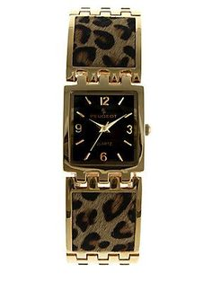 Goldtone Leopard-Print Faux Fur Strap Watch