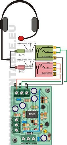 Detail of the connection in headphones with separate jacks. - News Technology Electronics Projects, Electronics Basics, Electronic Engineering, Electrical Engineering, Kindle Fire Tablet, Electrical Installation, Audio Amplifier, Audiophile, Arduino Projects
